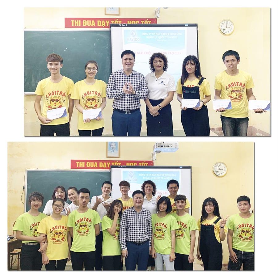 Ban lãnh đạo HAVICO trao giải cho các cá nhân và tập thể trường THPT B Bình Lục, đạt giải trong cuộc thi video lần 1