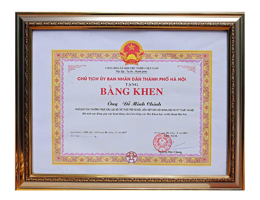 Bằng khen từ Chủ tịch UBND thành phố Hà Nội