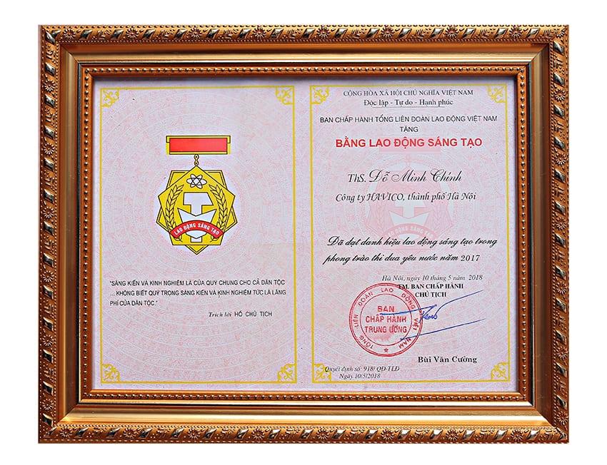Giải thưởng Lao động sáng tạo từ Tổng Liên đoàn Lao động Việt Nam