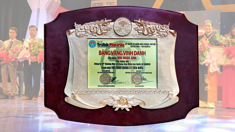 Phó chủ tịch Mai Nhọc Anh nhận danh hiệu Trí thức quản lý tiêu biểu