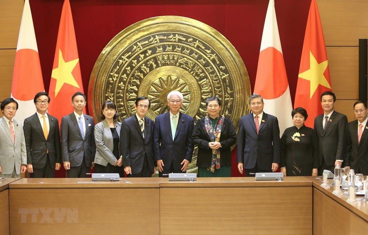Phó Chủ tịch Thường trực Quốc hội Tòng Thị Phóng và Phó Chủ tịch Thượng viện Nhật Bản Ogawa Toshio cùng thành viên đoàn hai nước chụp ảnh kỉ niệm. (Ảnh internet)
