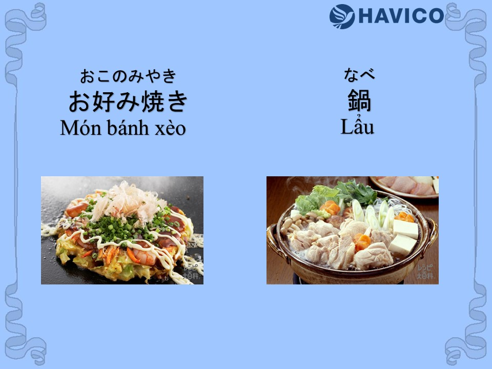 Từ vựng tiếng Nhật: Chủ đề món ăn