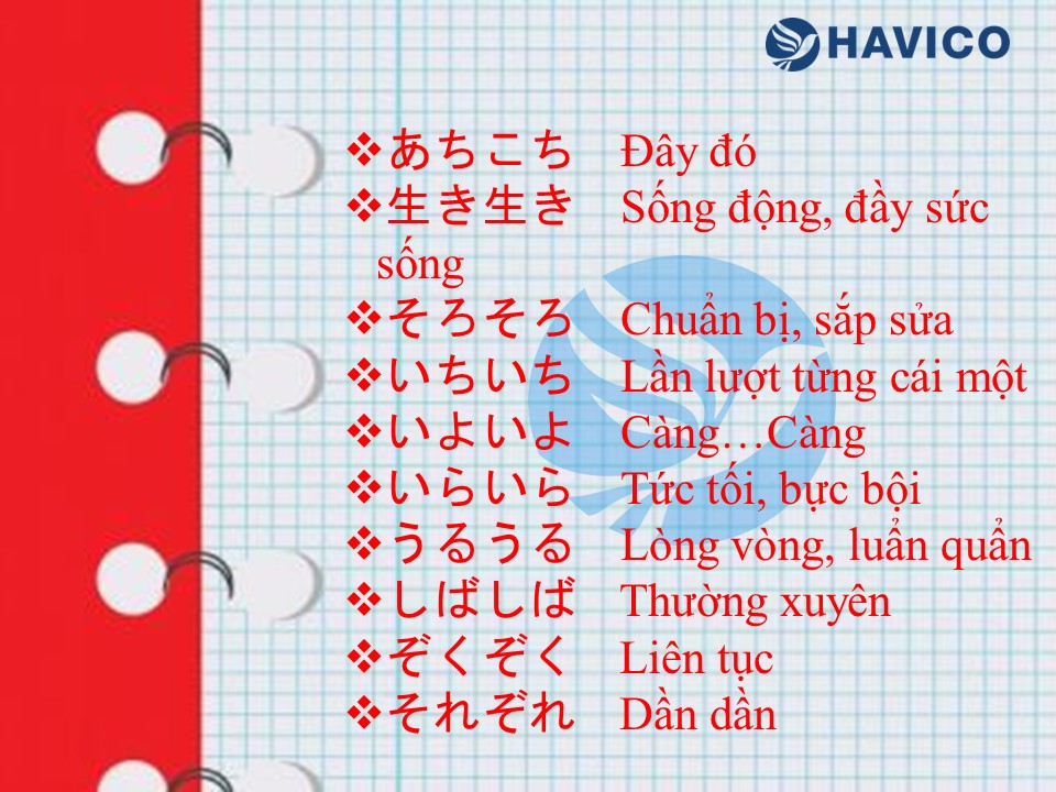 Trạng từ lặp trong tiếng Nhật