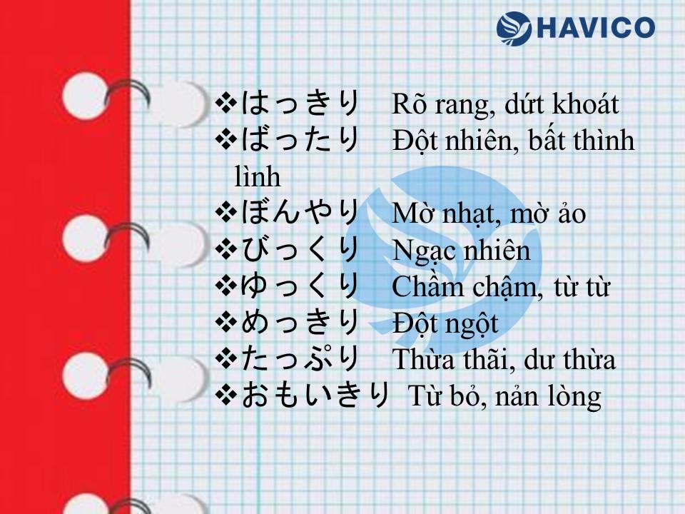 Trạng từ trong tiếng Nhật