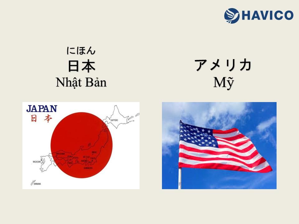 Từ vựng tiếng Nhật: Chủ đề tên Quốc gia